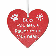 Personalised Pet memorial red heart Christmas tree decoration