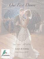 First Dance song lyrics heart personalised photograph print - wedding