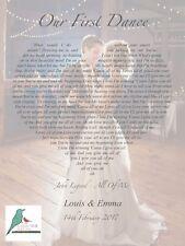 First Dance song lyrics heart personalised photograph print - wedding