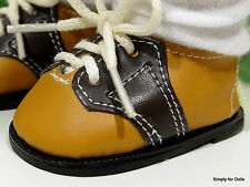 """**SALE** TAN & BROWN Saddle Oxford DOLL SHOES fit 18"""" AMERICAN GIRL Doll Clothes"""