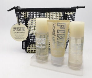 VICTORIAS SECRET PINK Coconut Waters Gift Set W/ Cosmetic Bag NWT 4pcs Set RARE