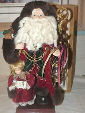 "2001 GRANDEUR NOEL 16"" FABRIC SANTA CLAUS FIGURINE W/ LITTLE GIRL ON WOOD BASE"