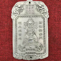 Old Chinese Tibet Silver Mammon Money Wealth God Two-sided Thanka Amulet Pendant