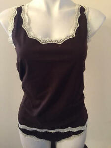 NEW Lovely Day Lingerie lace trim cami tank & cheeky panty size large