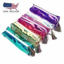 Laser Transparent Holographic Cosmetic Zipper Bag Make Up Pouch Pen Pencil Case