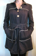 Karen Walker Size 8 Black Cotton Trench Coat