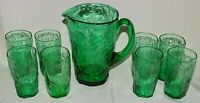 Morgantown USA Crinkle Green Set of 8 Juice Tumblers with Matching Pitcher
