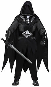 Evil Knight Adult Mens Costume Black Scary Undertaker Theme Party Halloween