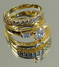 Beautiful Triple Ladies Ring, Large Cubic Zirconia multiple Swarovski stones NEW