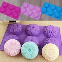 6 Cavity Flower Shaped Silicone DIY Handmade Soap Candle Cake Mold Supplies