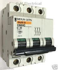 MERLIN GERIN 20 AMP TYPE C 20A TRIPLE POLE MCB BREAKER 3 PHASE C60HC320 25674
