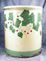 Ivy Leaves Tin Southern Belle Cookie Tray Lid Red Berries Large 1930s Vintage