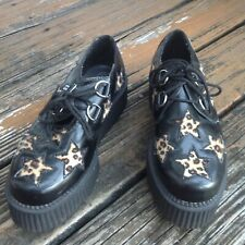 TUK Black Leopard Star Creeper Oxfords Sz 8 EU 41 UK 7 Platform Mens Shoes