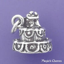 .925 Sterling Silver 3D WEDDING CAKE With Bride And Groom Charm Pendant - lp2423