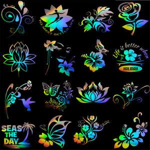 1pcs Flowers Butterfly Wall Stickers Car Window Door Laptop Art Vinyl Decal