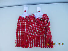 2 Hanging Kitchen Dish Towels With Crochet Tops- Red & White Squares