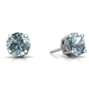 2 Ct Natural Aquamarine Round Stud Earrings 14Kt White Gold