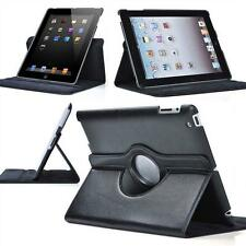 "Hot 360 Rotated Folio Leather Smart Case For Apple iPad 9.7"" iPad 2 3 4 Black GR"