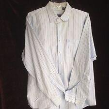 Izod Mens Large Pinstripe Blue Long Sleeve Dress Shirt