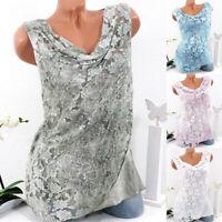 Summer Womens Lace Vest Blouse Tops Ladies Sleeveless T-Shirts Plus Size 6-24 UK