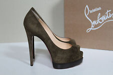 New sz 6 / 36 Christian Louboutin Palais Royal Brown Suede Platform Pump Shoes