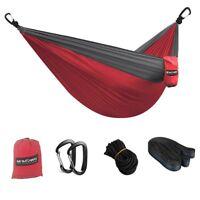 Single & Double Camping Hammock With Tree Straps Portable Parachute Nylon travel
