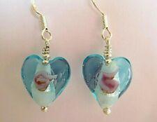 BLUE MURANO GLASS HEART EARRINGS
