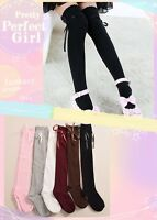 Lolita Girls Bowknot Lace-up Stockings Hold-ups Lady Over the Knee Socks 6Colors