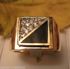 BAGUE HOMME PL/OR 14 K  ONYX  &  DIAMANTS cz