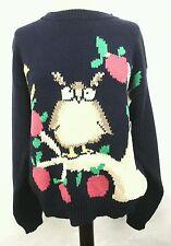 BOYNTON Vintage 80's 1988 Eagles Eye OWL Apples Pullover Sweater Blue Womens  L