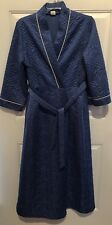 Vtg 70s Blue Satin Quilted Robe House Coat Wrap Tie Size Medium Made In USA