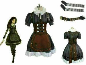 Alice Madness Returns Alice Stream Halloween Cosplay Costume Dress{5S]