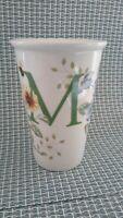"""Lenox Butterfly Meadow Travel Mug Coffee Cup Monogram """"M"""" 10 Oz NO LID"""