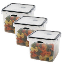 3 Pack Square Snack Food Storage Plastic Container 9.5 Cup Pantry Snack Canister