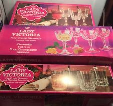 Lady Victoria Fine Crystal Chantelle Stemware 6 Sets From France