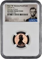 """2019 W First """"W"""" Reverse Proof Lincoln Cent FIRST DAY OF ISSUE NGC 70 RD Lincoln"""