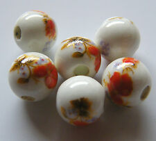 30pcs 8mm Round Porcelain/Ceramic Beads - White / Bright Red Flowers