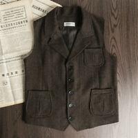 Mens Retro Wool Tweed Herringbone Vest Lapel Waistcoat Gilet Suit Formal Tops