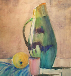 ORIGINAL VINTAGE WATERCOLOR PAINTING STILL LIFE WITH PITCHER, MUG AND APPLE
