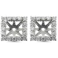 1 1/4ct Princess Cut Diamond Halo Earring Jackets White Gold (5.5-6mm)