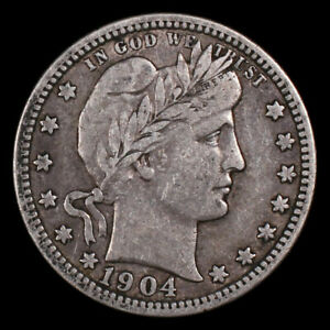 1904 United States Barber Quarter 25 Cents World Silver Coin