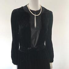 Elegant JIGSAW Black Silk & Velvet Dress (UK 8) LBD - LMT Velvet -