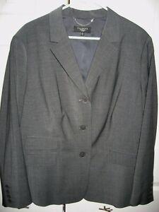 Womens NWT Gray TALBOTS WOMAN Lined Stretch Wool Blazer Jacket 18W