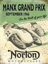 Norton Motorcycles,T.T Manx Grand Prix Old Vintage Garage Small Metal/Tin Sign