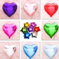 "5Pcs 18"" Foil Heart Star Balloons Helium Wedding Birthday Party Decor Wholesale"