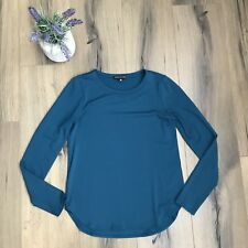 Eileen Fisher Petite Womens sz PP Green Viscose Long Sleeve Knit Top EUC