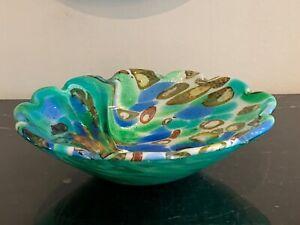 Lovely Vintage Italian Murano Green Silver Flakes Bowl