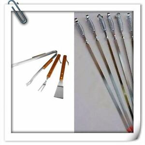 18x Bbq Skewers Kebab Barbecue Chrome Reuseable With Free Utensil Cutlery  Set