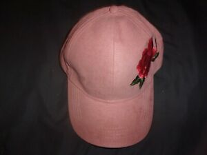 NEW David & Young Faux Suede Fabric Embroidered Floral Flower Rose Pink Cap B215