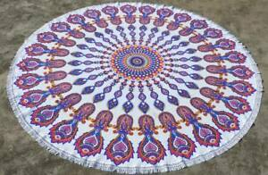 Blue and Pink Multi Fish Medallion Mandala Beach Roundie Throw Round Table Cover